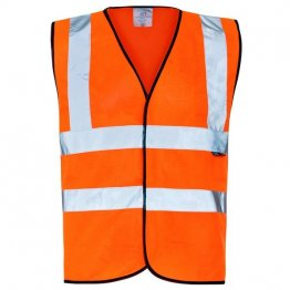 Hi Vis Vest black piping
