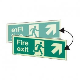 Double sided fire exit up right