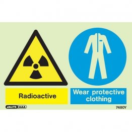 Warning Radioactive Wear Protective Clothing 7480