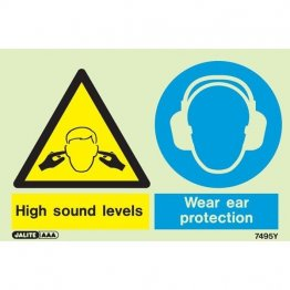 Warning High Sound Levels Wear Ear Protection 7495