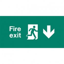 Emergency Light Legend Fire Exit Down Pack of 10 EL437