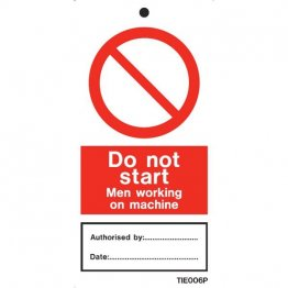 Do Not Start At Work Labels Pack of 10 TIE006