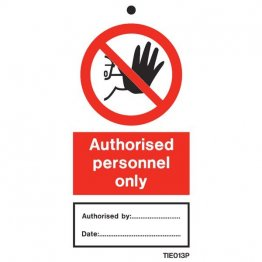 Authorized Personnel Only Labels Pack of 10 TIE013
