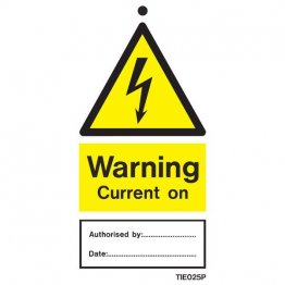 Warning Current On Labels Pack of 10 TIE025