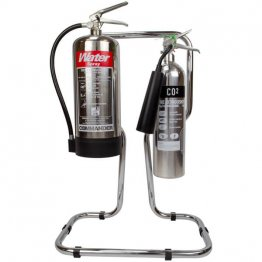 Double chrome fire extinguisher stand