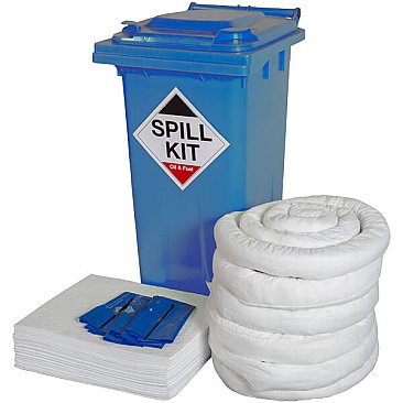 240 Litre Wheeled Spill Kit - Oil & Fuel (Blue Bin)