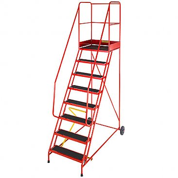 Heavy-Duty Mobile Safety Steps - 8 Treads