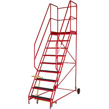 Heavy-Duty Mobile Safety Steps - 9 Treads
