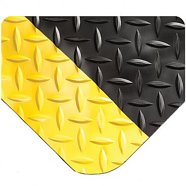 PVC Diamond-Plate Anti-fatigue Mat Black with Yellow