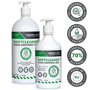 70% Alcohol Hand Sanitiser Gel with Pump Top - 500ml & 1l