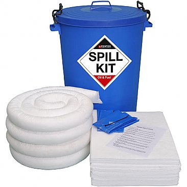 90 Litre Stationary Spill Kit - Oil & Fuel (Blue Drum)