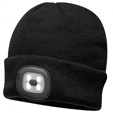 Rechargeable LED Beanie Hat - Black