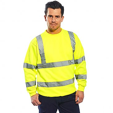 Man wearing hi-vis yellow sweatshirt