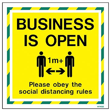 Business Is Open Adhesive Sign