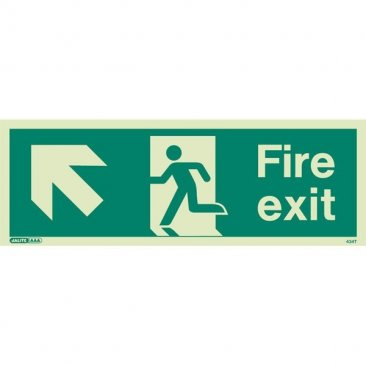 Fire exit ahead left sign