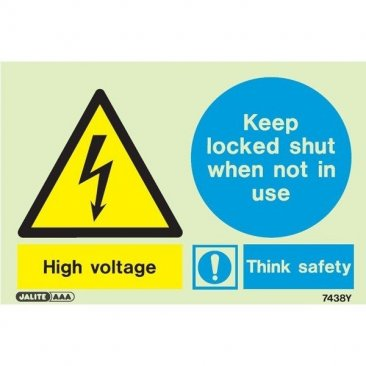 Warning High Voltage Keep Locked 7438