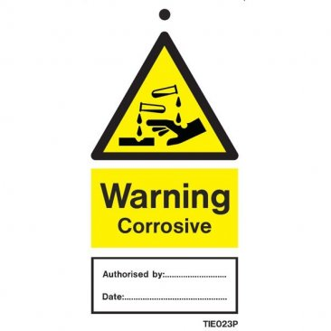 Warning Corrosive Labels Pack of 10 TIE023
