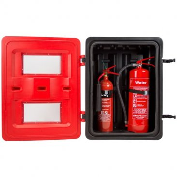 Double fire extinguisher box