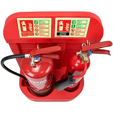 Red Double Fire Extinguisher Stand
