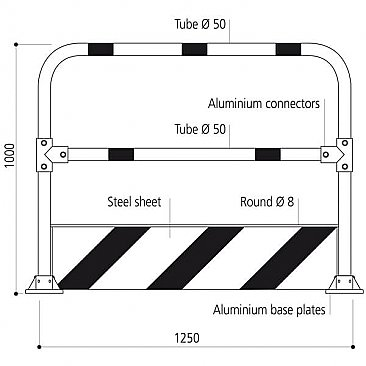 Striped Hoop Safety Barrier - Measurements