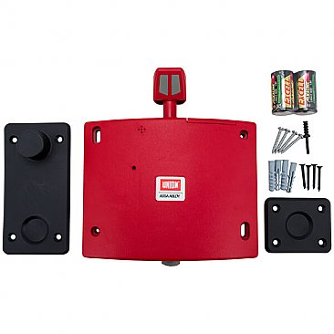 Union Wireless Fire Door Holder Red - Box Contents