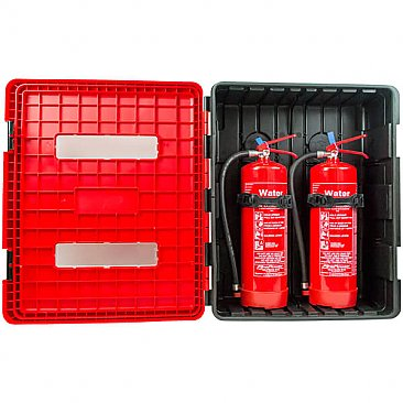 Wall Mounted Double Fire Extinguisher Cabinet - Extinguishers not included