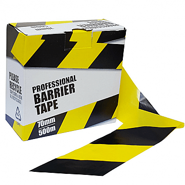 Yellow & Black Barrier Fencing Tape
