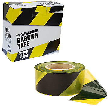 Yellow & Black Barrier Tape for Temporary Fencing